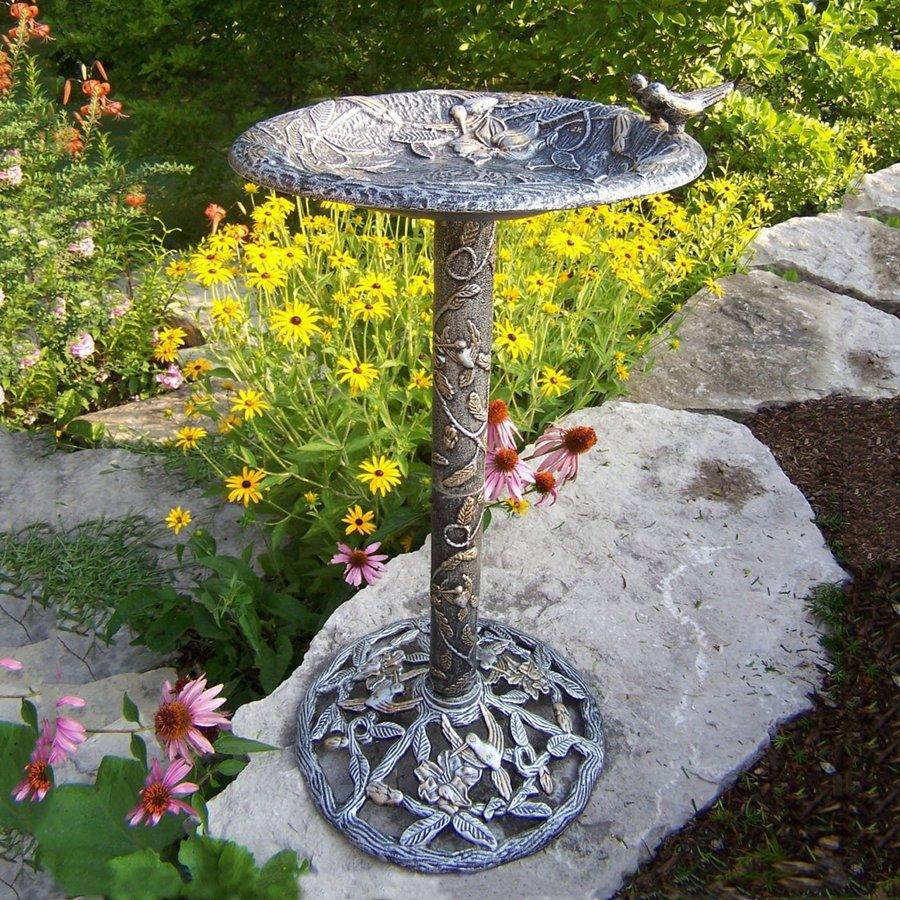 Oakland Living Hummingbird 32-in H 1-Tier Round Cast Iron Birdbath