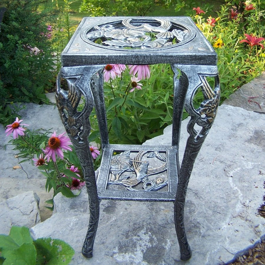 Oakland Living Hummingbird 26.25-in Antique Pewter Square Cast Iron Plant Stand