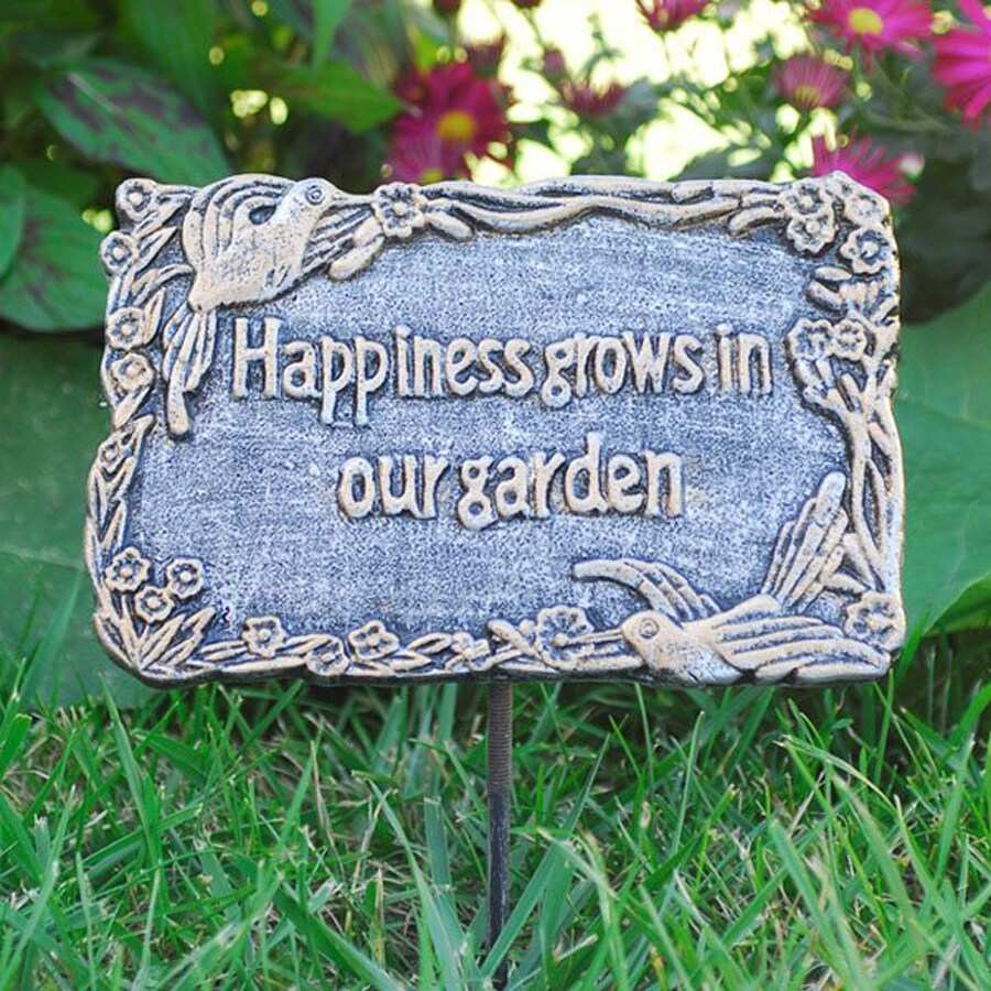 Oakland Living Happiness Grows in Our Garden 15.5-in Antique Pewter Metal Sign