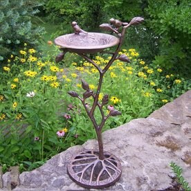 Charmant Oakland Living Meadow 33 In H 1 Tier Round Cast Iron Birdbath