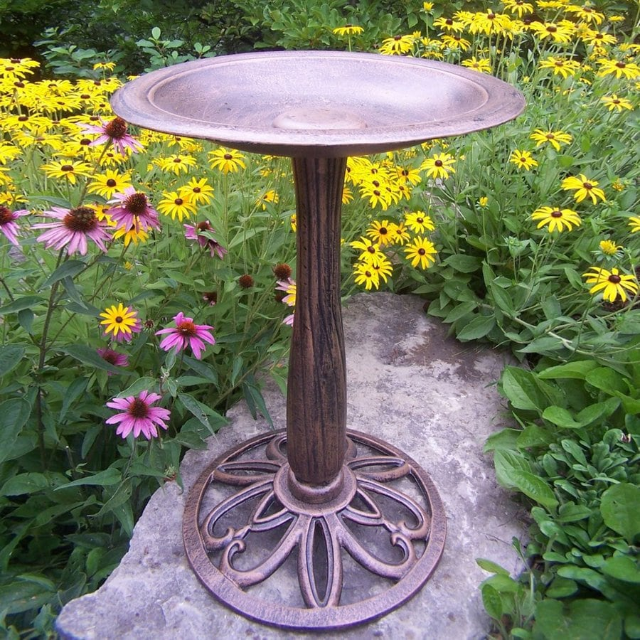 Oakland Living Feathers 28.4-in H 1-Tier Round Cast Iron Birdbath