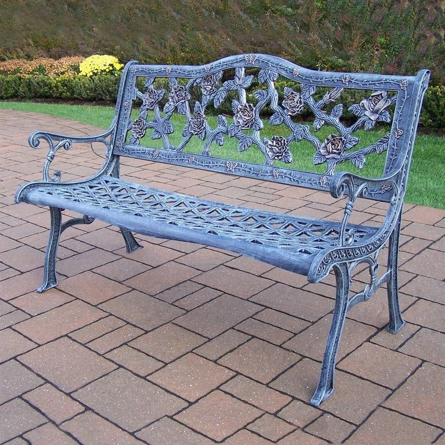 Oakland Living Tea Rose 25.75-in W x 49.75-in L Antique Verdi Aluminum Patio Bench