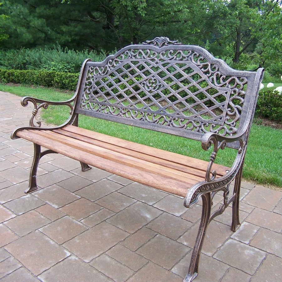 Oakland Living Mississippi 27-in W x 52-in L Antique Bronze Patio Bench