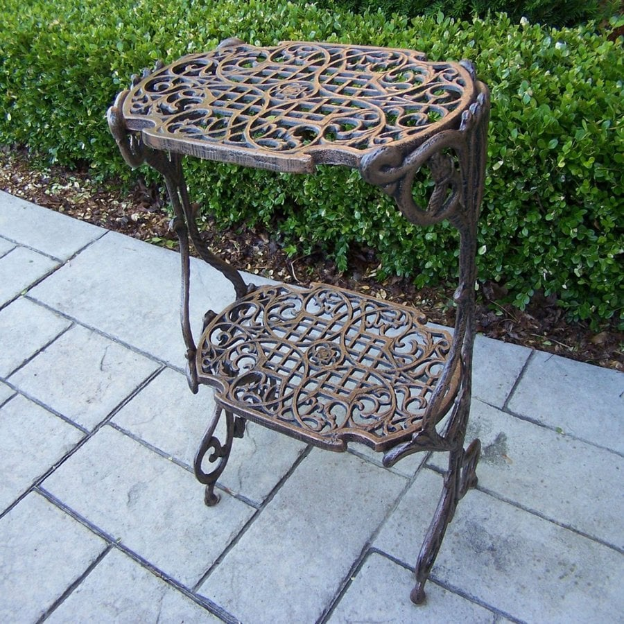 Oakland Living 28.5-in Antique Bronze Rectangular Cast Iron Plant Stand