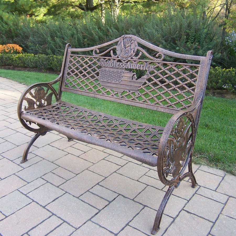 Oakland Living American Eagle 24-in W x 50-in L Antique Bronze Aluminum Patio Bench