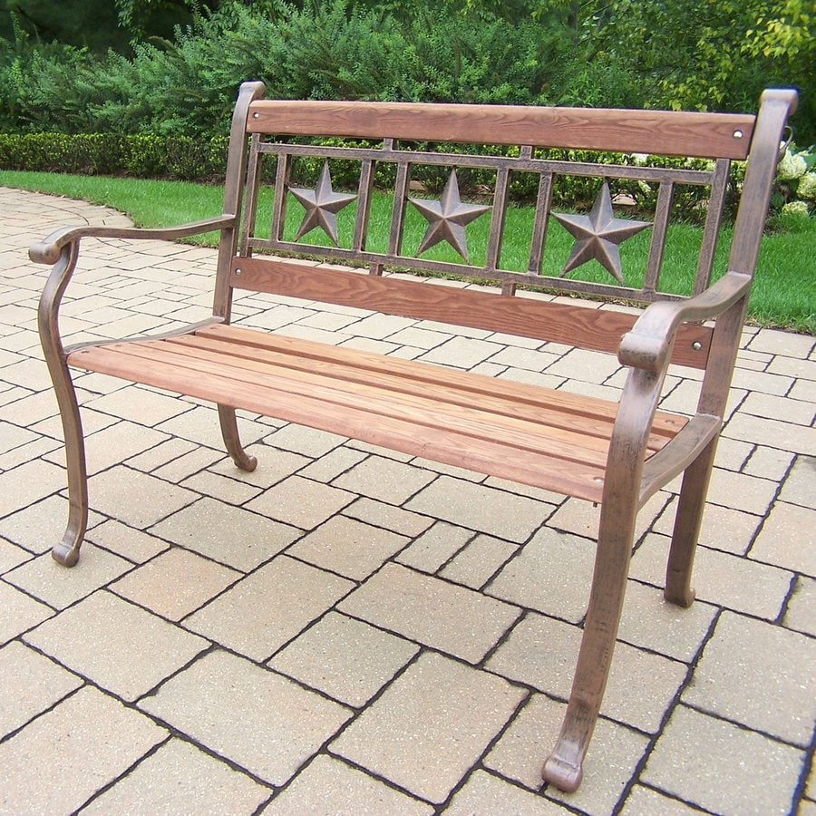 Oakland Living Triple Star 23.5-in W x 42.5-in L Antique Bronze Patio Bench