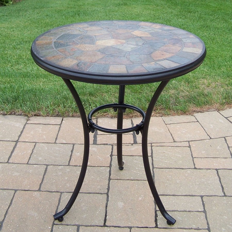 Oakland Living Stone Art 24-in W x 24-in L Round Iron Bistro Table