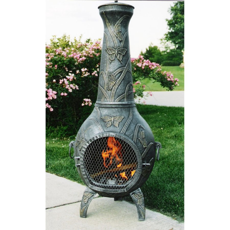 Oakland Living Antique Pewter Cast Iron Outdoor Wood Burning