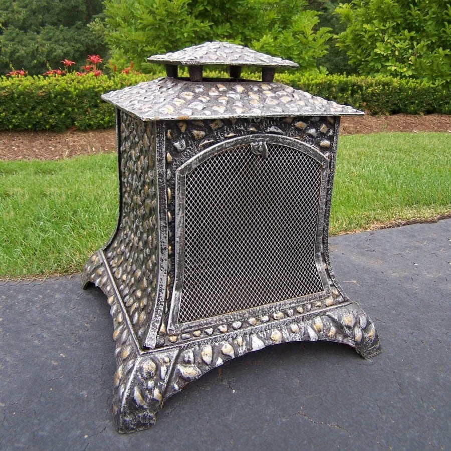 Oakland Living Antique Pewter Cast Iron Outdoor Wood-Burning Fireplace