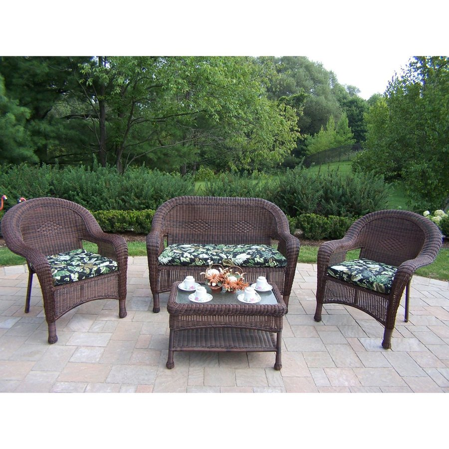 Oakland Living Resin Wicker 4 Piece Wicker Frame Patio Conversation Set  With Black Floral Cushions
