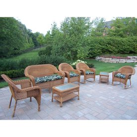 Lovely Oakland Living Resin Wicker 7 Piece Wicker Frame Patio Conversation Set  With Floral Cushions