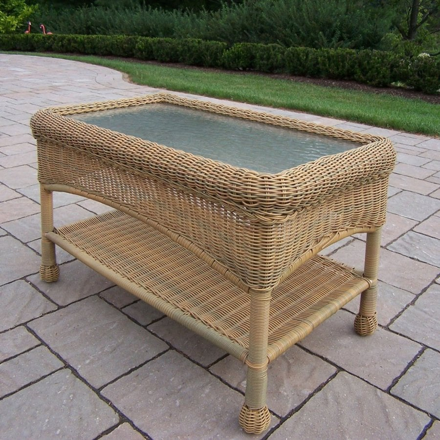 Lowes Wicker Coffee Table: Oakland Living Resin Wicker Rectangle Wicker Coffee Table