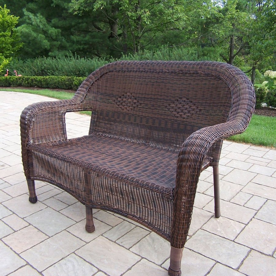 Oakland Living Resin Wicker Outdoor Loveseat With Coffee Frame