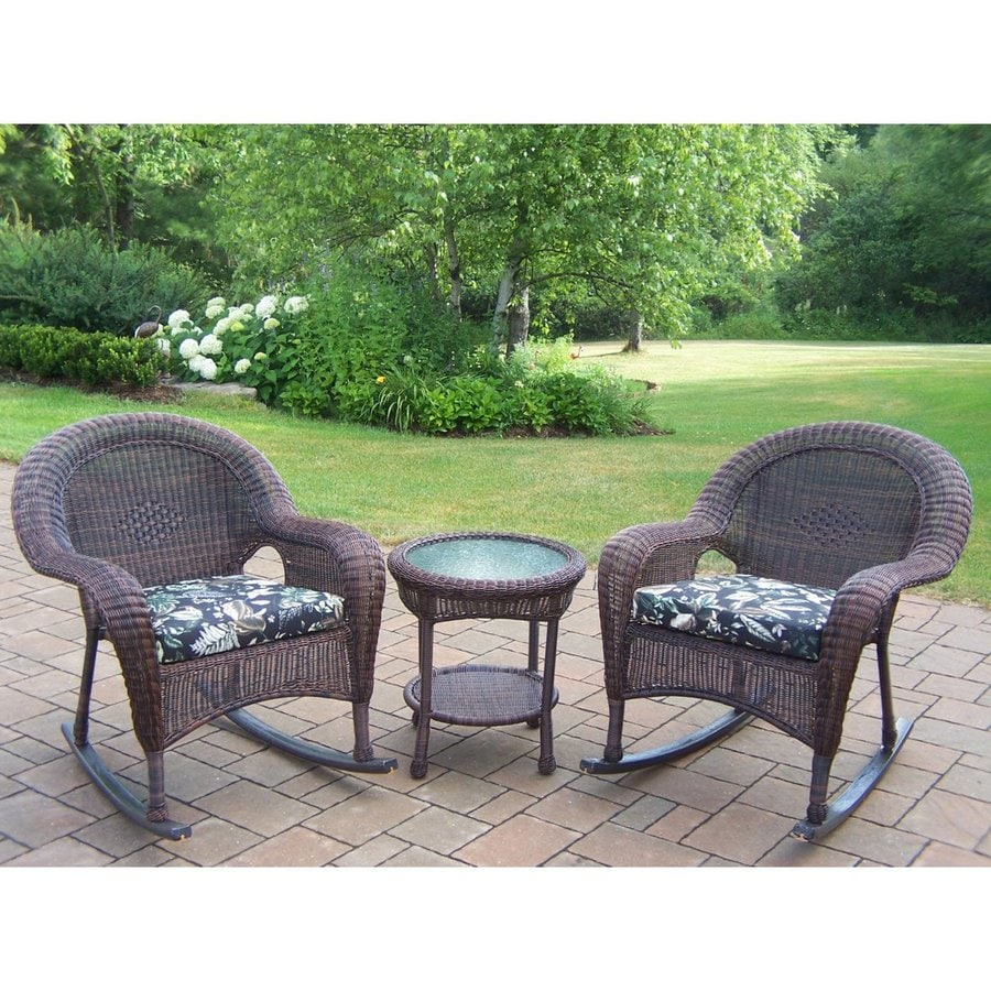 Oakland Living Resin Wicker 3-Piece Wicker Patio Conversation Set