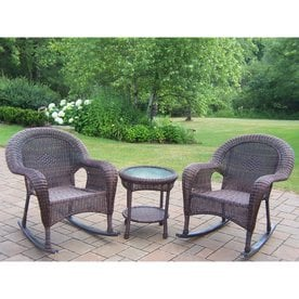 Oakland Living Resin Wicker 3 Piece Wicker Frame Patio Conversation Set