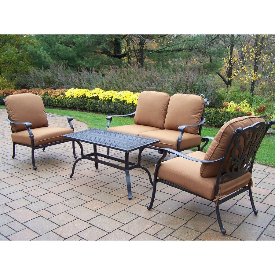 Conversation Patio Sets ~ Shop oakland living hampton piece aluminum patio