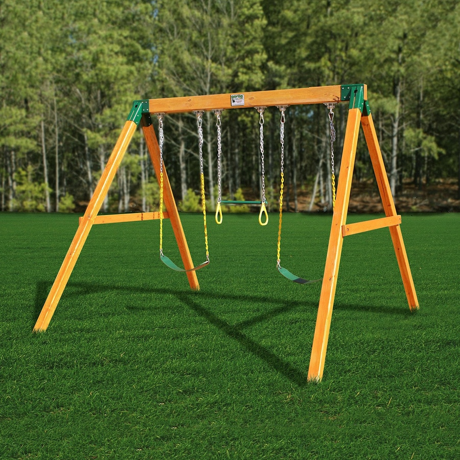 Gorilla Playsets Free Standing Residential Wood Playset with Swings