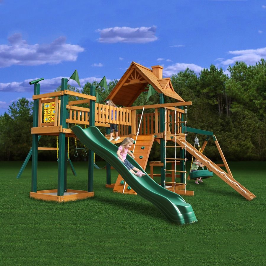 Gorilla Playsets Pioneer Peak Residential Wood Playset with Swings