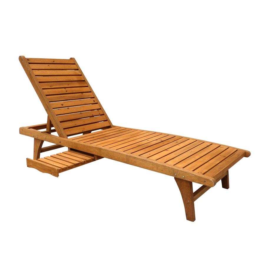 Leisure Season Natural Cunninghamia Patio Chaise Lounge
