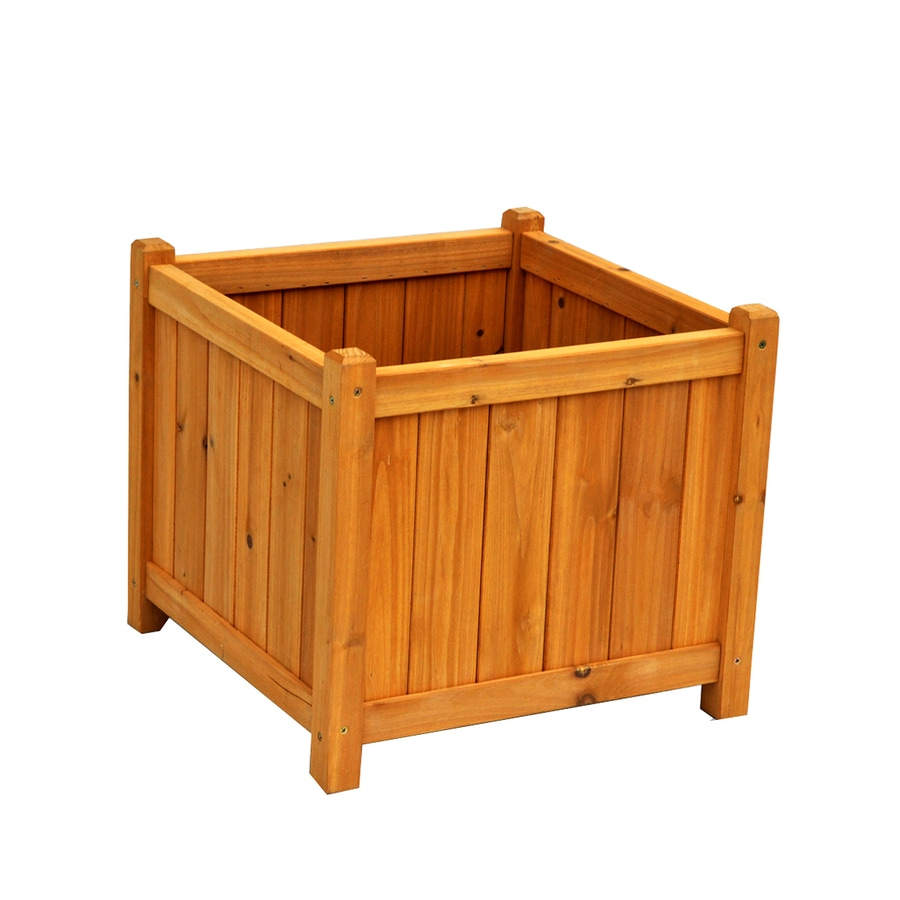 Leisure Season 18-in x 16-in Natural Cunninghamia Wood Planter