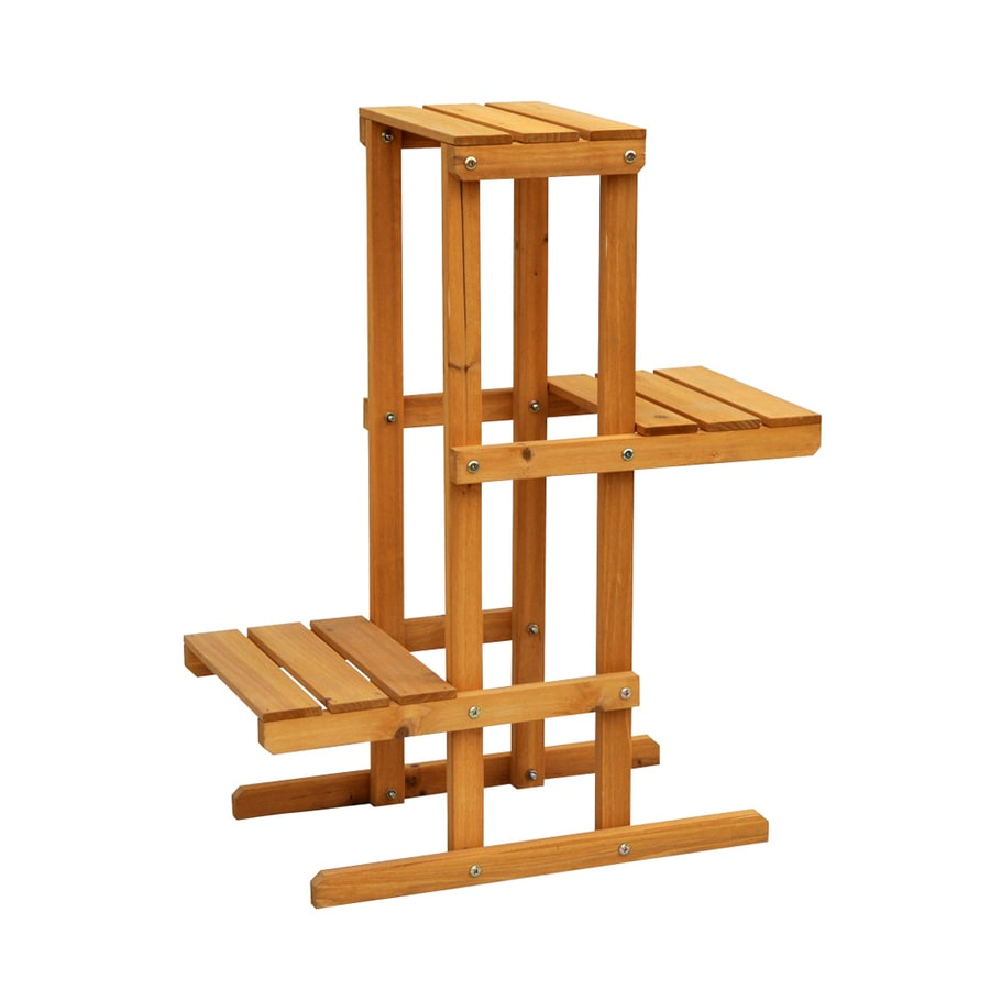 Leisure Season 24 In Natural Outdoor Rectangular Wood Plant Stand