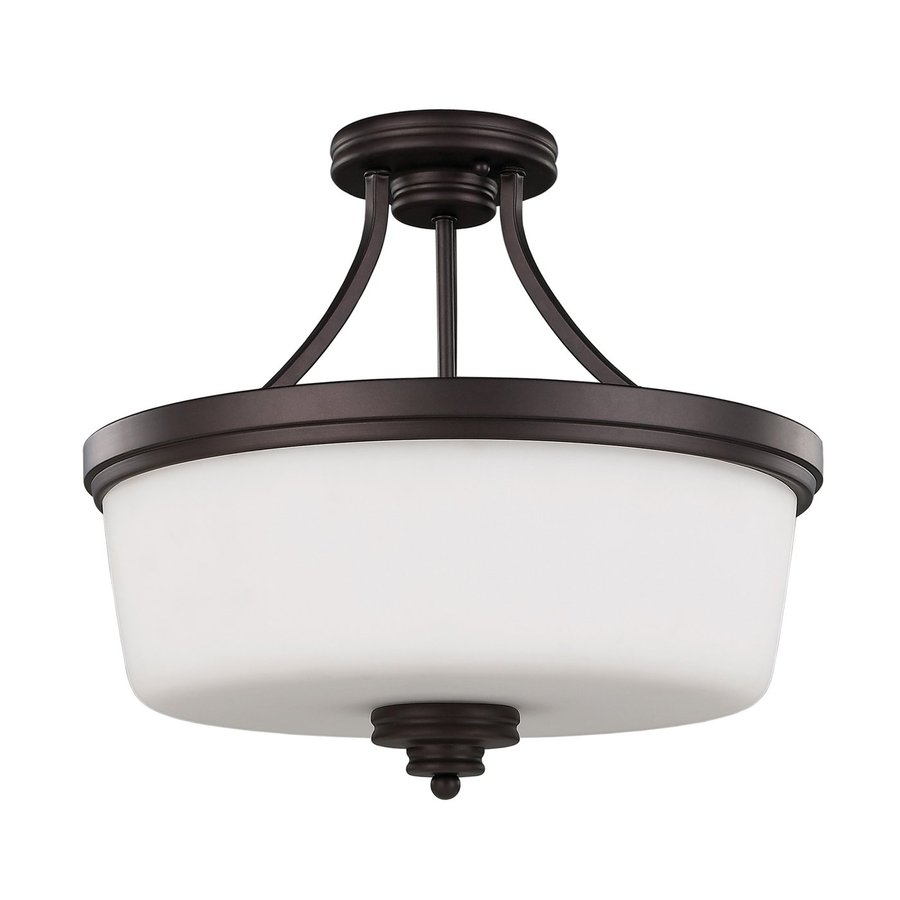 Canarm Jackson 15.75-in W Oil Rubbed Bronze Opalescent Glass Semi-Flush Mount Light