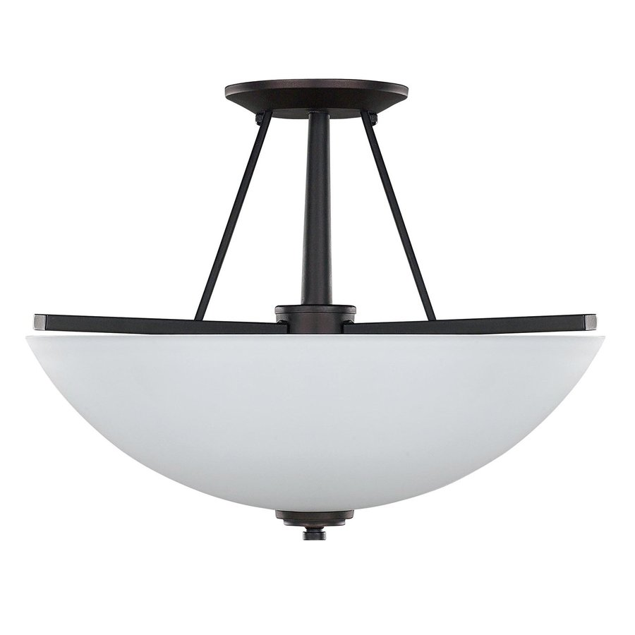 Canarm New Yorker 15-in W Oil Rubbed Bronze Opalescent Glass Semi-Flush Mount Light