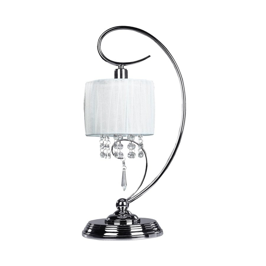 Canarm Michele 19-in Chrome  Swing-arm Table Lamp with Fabric Shade