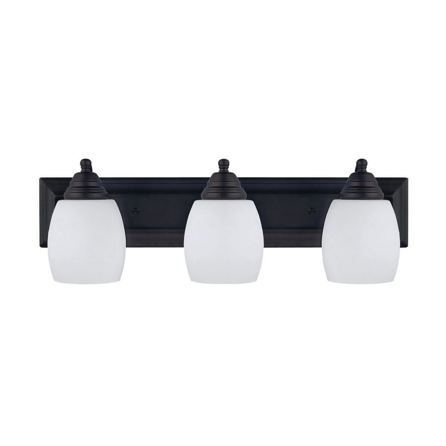 Bathroom Light Fixtures Oil Rubbed Bronze shop canarm griffin 3-light 7.25-in oil rubbed bronze bell vanity