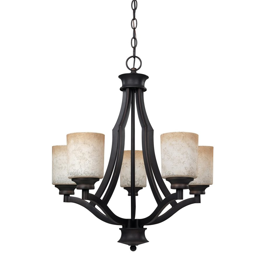Canarm Warren 22-in 5-Light Oil Rubbed Bronze Mediterranean Shaded Chandelier