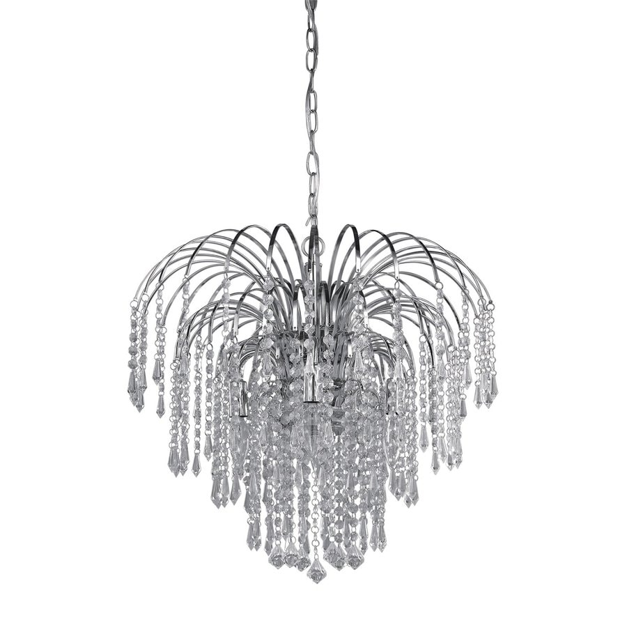 Canarm Olivia 19-in 4-Light Chrome Crystal Waterfall Chandelier
