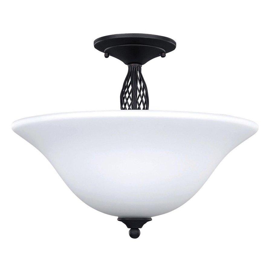 Canarm Twenty One 15.25-in W Oil Rubbed Bronze Opalescent Glass Semi-Flush Mount Light