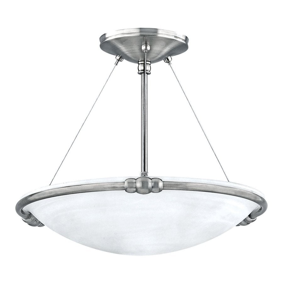 Canarm Seville 15-in W Brushed Pewter Alabaster Glass Semi-Flush Mount Light