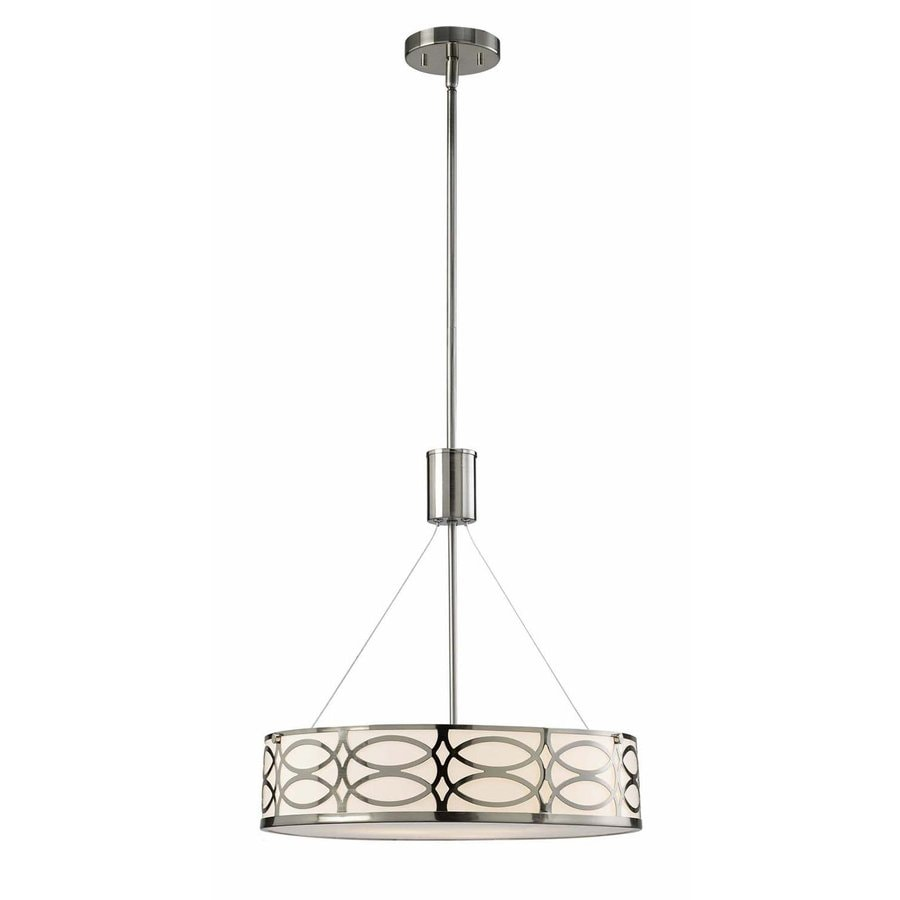 Canarm Drake 18.25-in Brushed Nickel Single Drum Pendant