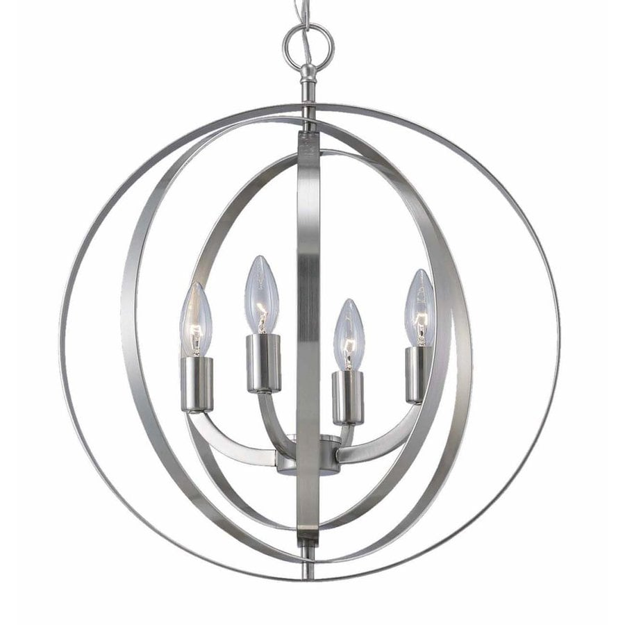 Canarm Meridian 18-in Brushed Nickel Industrial Single Orb Pendant