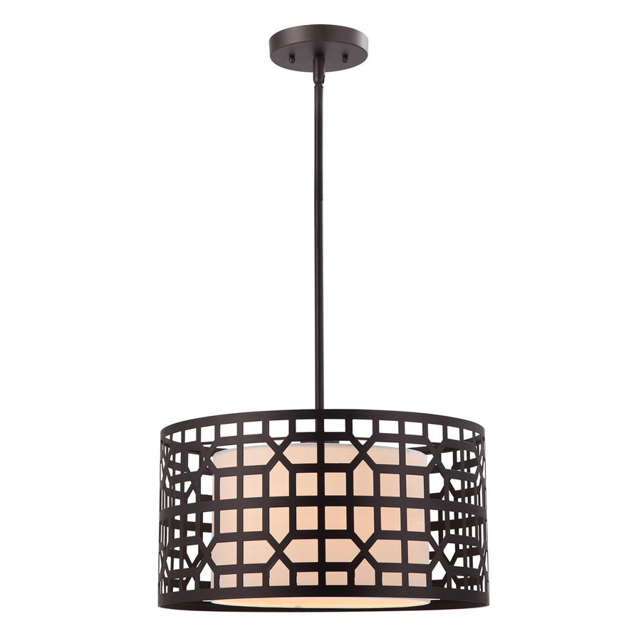 Shop Canarm Kuan 16 In Oil Rubbed Bronze Craftsman Single Drum Pendant At Low