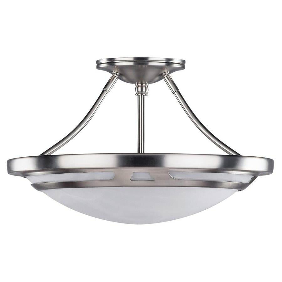 Canarm Avalon 15.25-in W Brushed Pewter Alabaster Glass Semi-Flush Mount Light