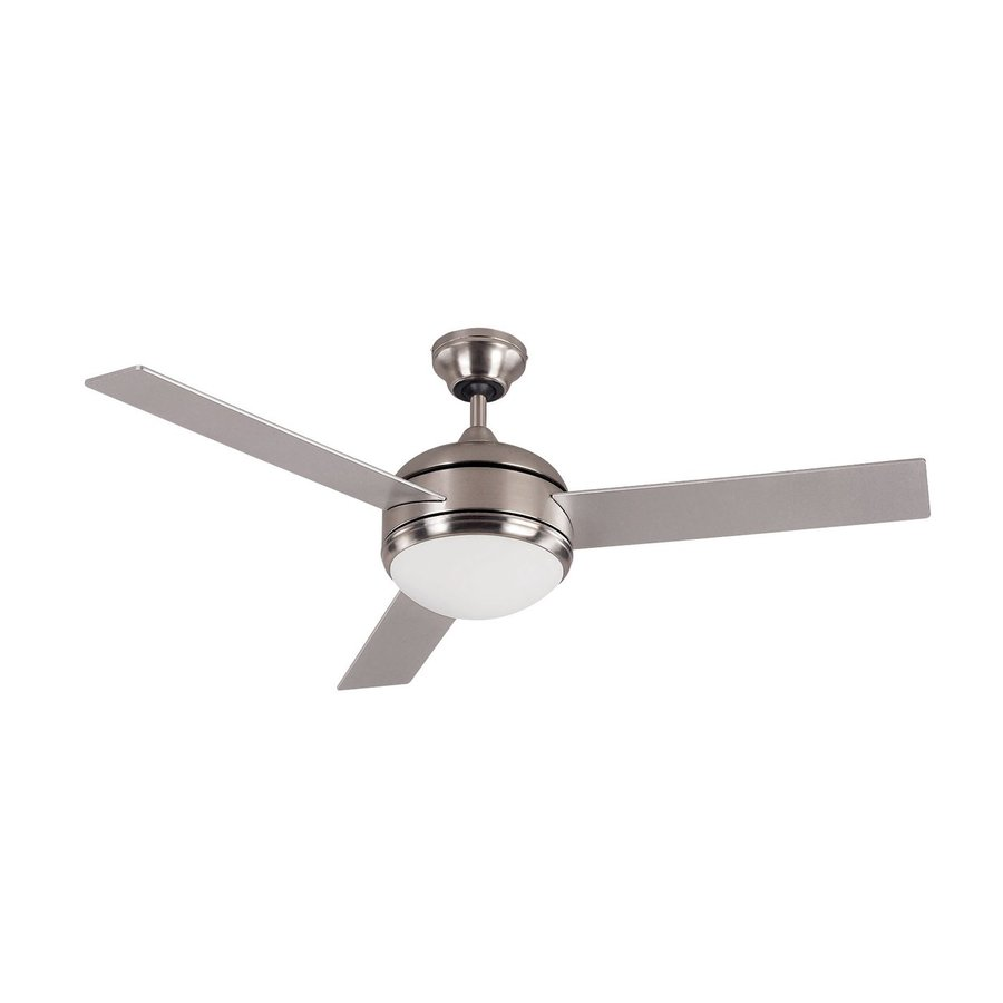 Canarm Calibre 48-in Brushed pewter Indoor Downrod Mount Ceiling Fan with Light Kit (3-Blade)