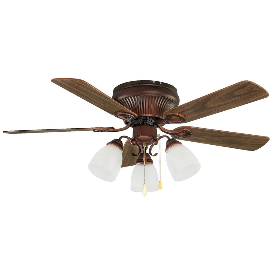 Canarm Malibu 42-in Antique copper Indoor Flush Mount Ceiling Fan with Light Kit