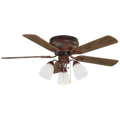 Malibu 42 In Antique Copper Indoor Flush Mount Ceiling Fan With Light Kit