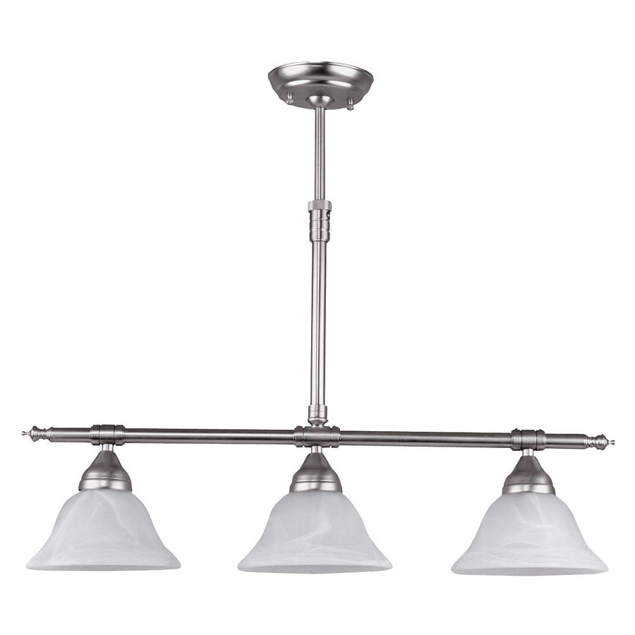 Canarm Athena 7.5-in W 3-Light Brushed Pewter Kitchen Island Light with White Shade