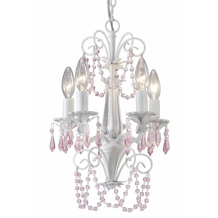 Shop canarm danica 12 in 5 light white crystal candle Crystal candle chandelier
