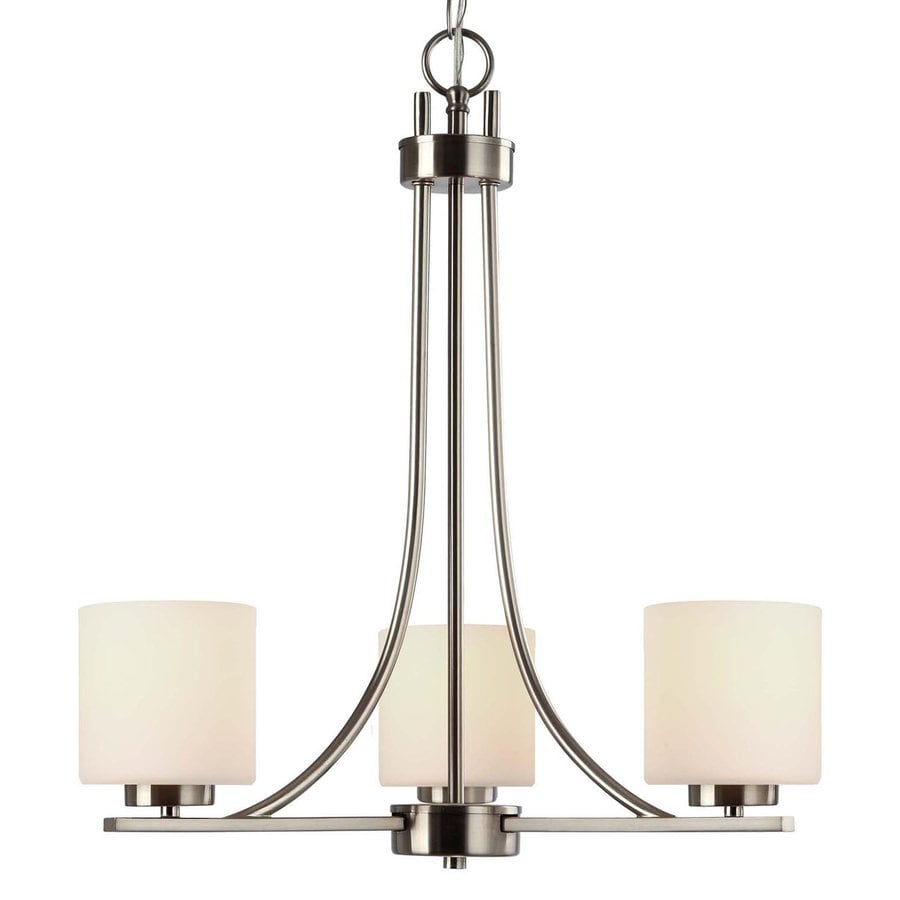 Canarm Leigha 21-in 3-Light Brushed Nickel Shaded Chandelier