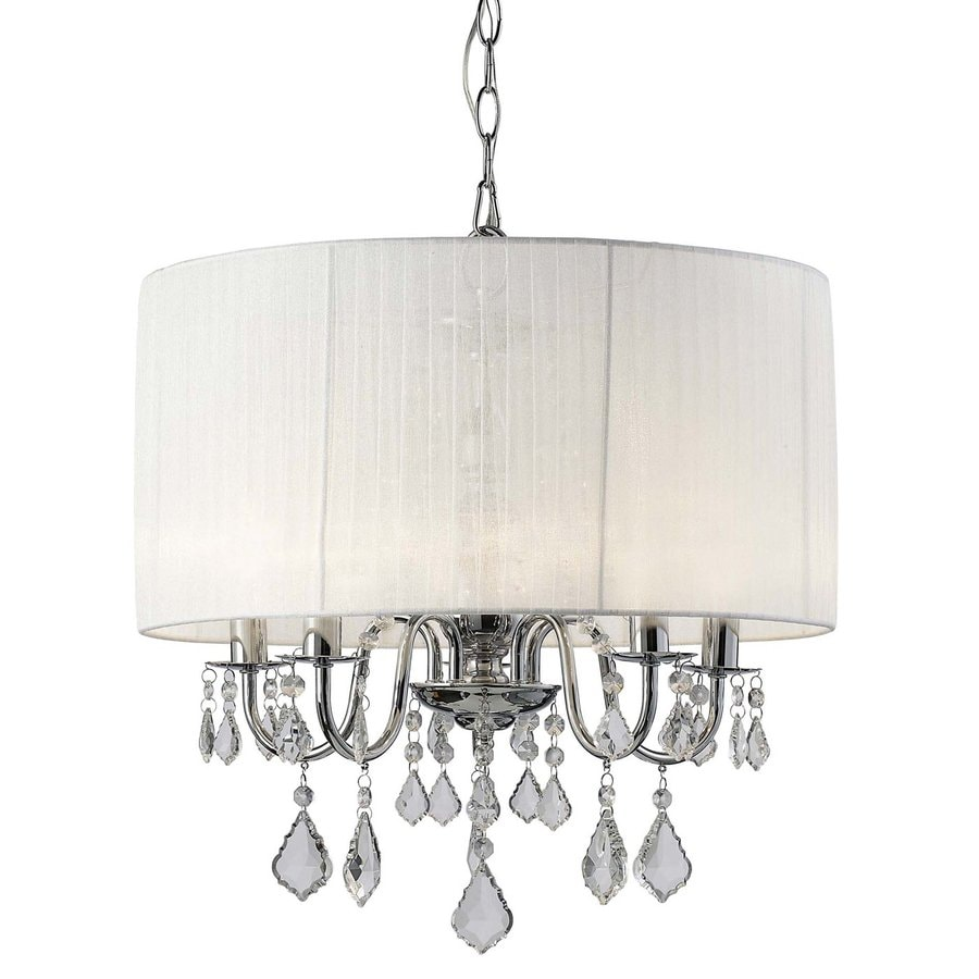 Canarm Sarah 18-in 5-Light Chrome Crystal Drum Chandelier