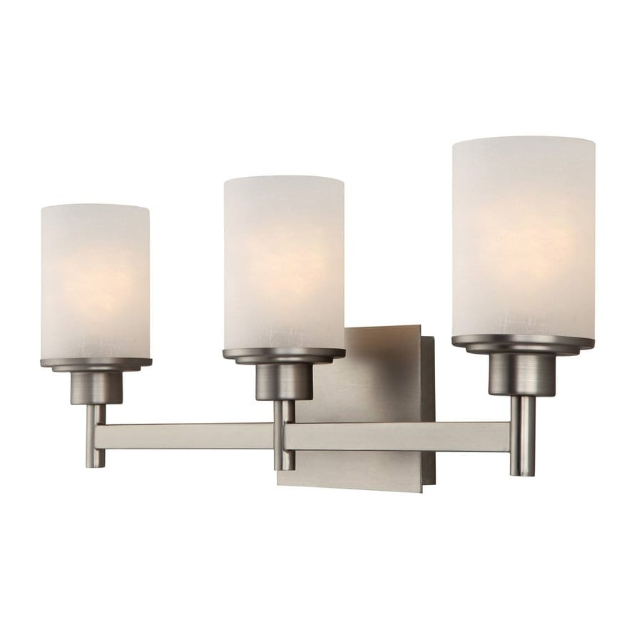 Canarm Lyndi 3-Light 9.25-in Brushed nickel Cylinder Vanity Light