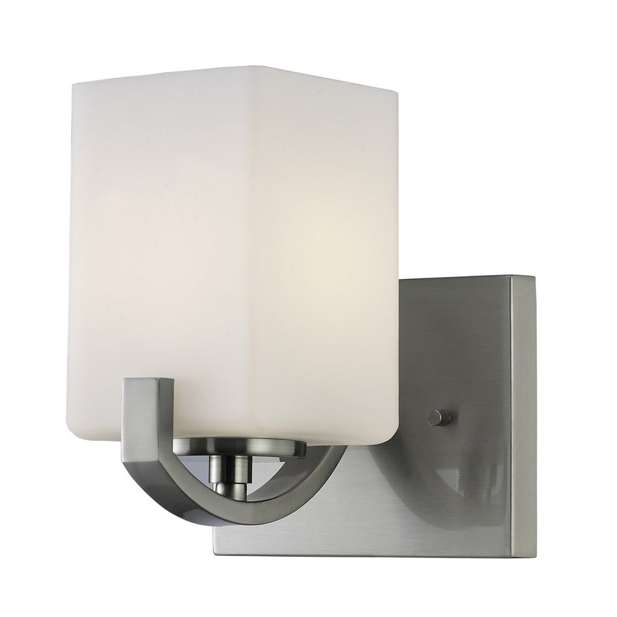 Shop Canarm Palmer In W Light Brushed Nickel Arm Wall Sconce At - Satin nickel bathroom sconces
