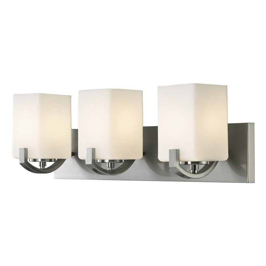 Bathroom vanity lights brushed nickel - Canarm Palmer 3 Light 7 75 In Brushed Nickel Square Vanity Light