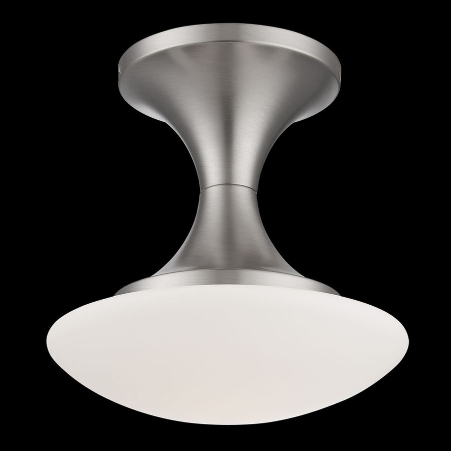 Eurofase Dallner 10-in W Satin Nickel Opalescent Glass Semi-Flush Mount Light