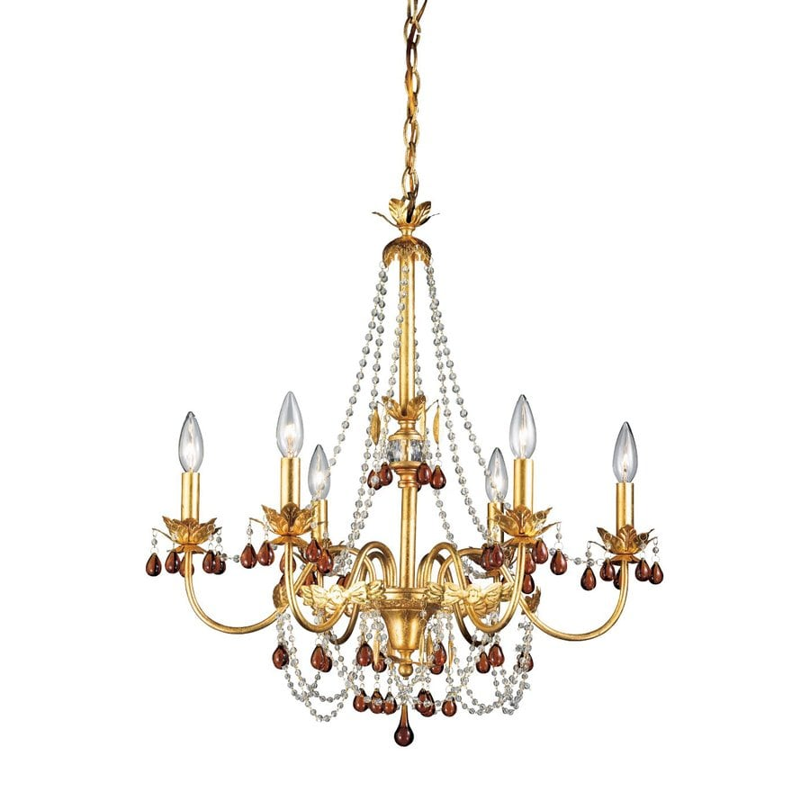 Eurofase Ambroise 25.25-in 6-Light Gold Candle Chandelier