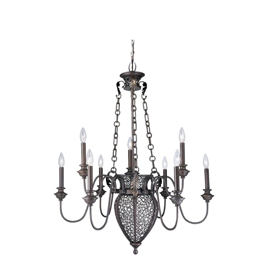 Eurofase Marseille 32.5-in 9-Light Bronze Williamsburg Candle Chandelier